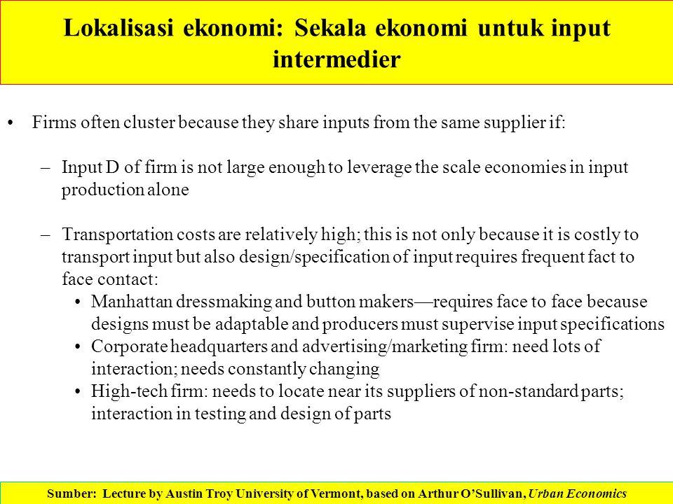 Lokalisasi ekonomi: Sekala ekonomi untuk input intermedier