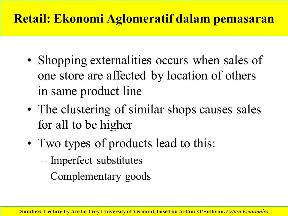 Retail: Ekonomi Aglomeratif dalam pemasaran