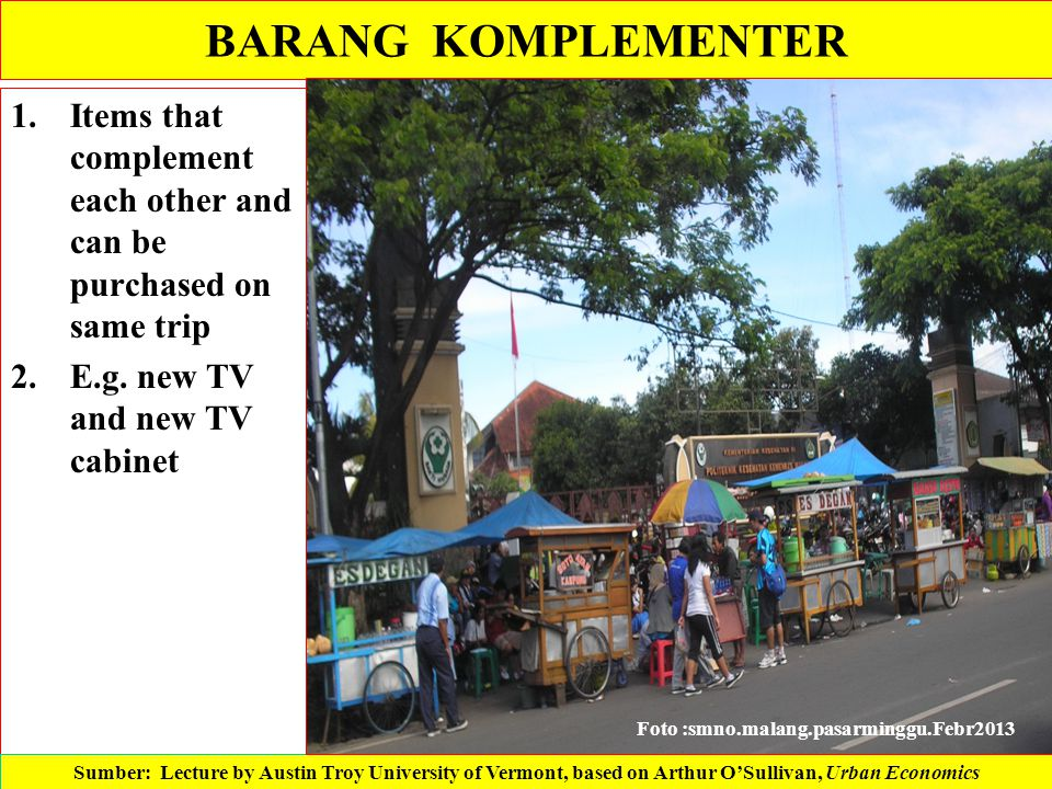 BARANG KOMPLEMENTER Items that complement each other and can be purchased on same trip. E.g. new TV and new TV cabinet.