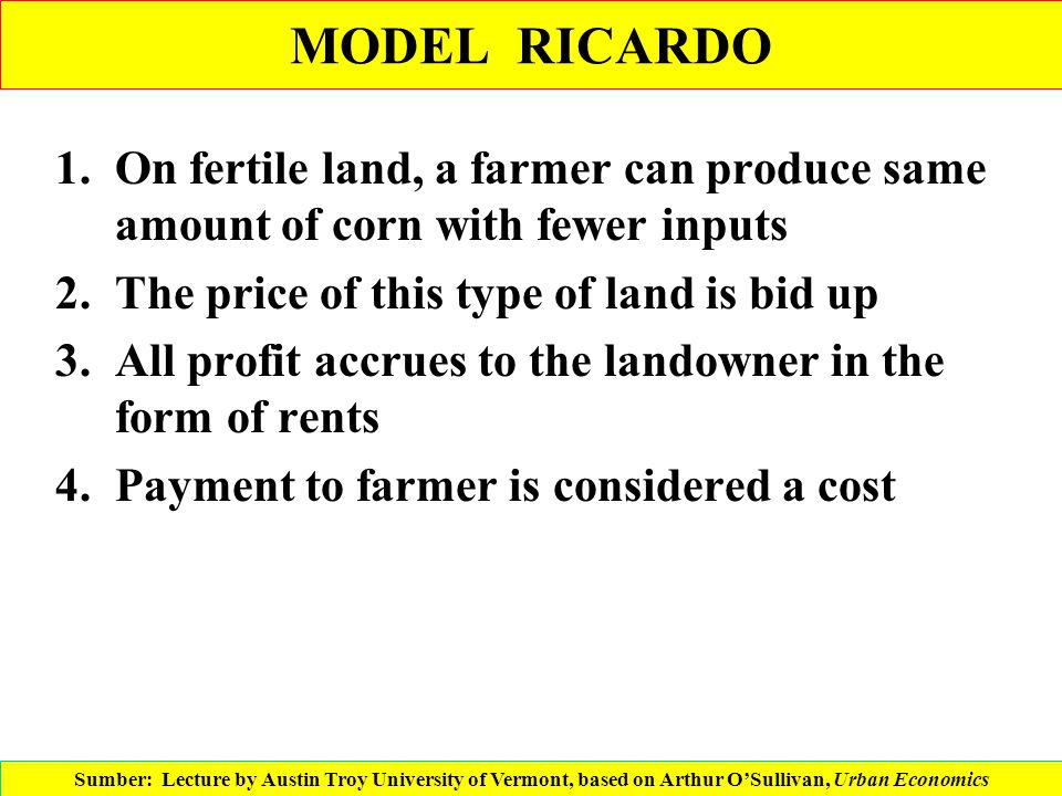 MODEL RICARDO On fertile land, a farmer can produce same amount of corn with fewer inputs. The price of this type of land is bid up.