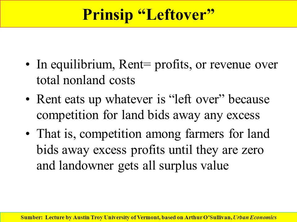 Prinsip Leftover In equilibrium, Rent= profits, or revenue over total nonland costs.