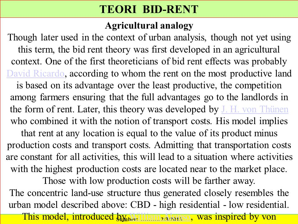 TEORI BID-RENT Agricultural analogy