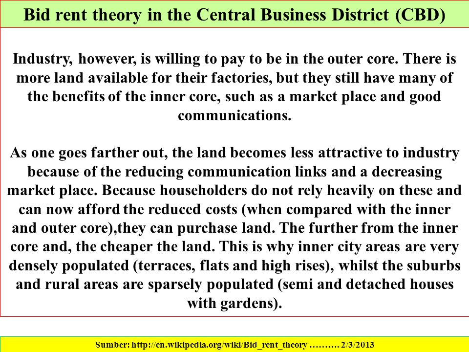 Bid rent theory in the Central Business District (CBD)
