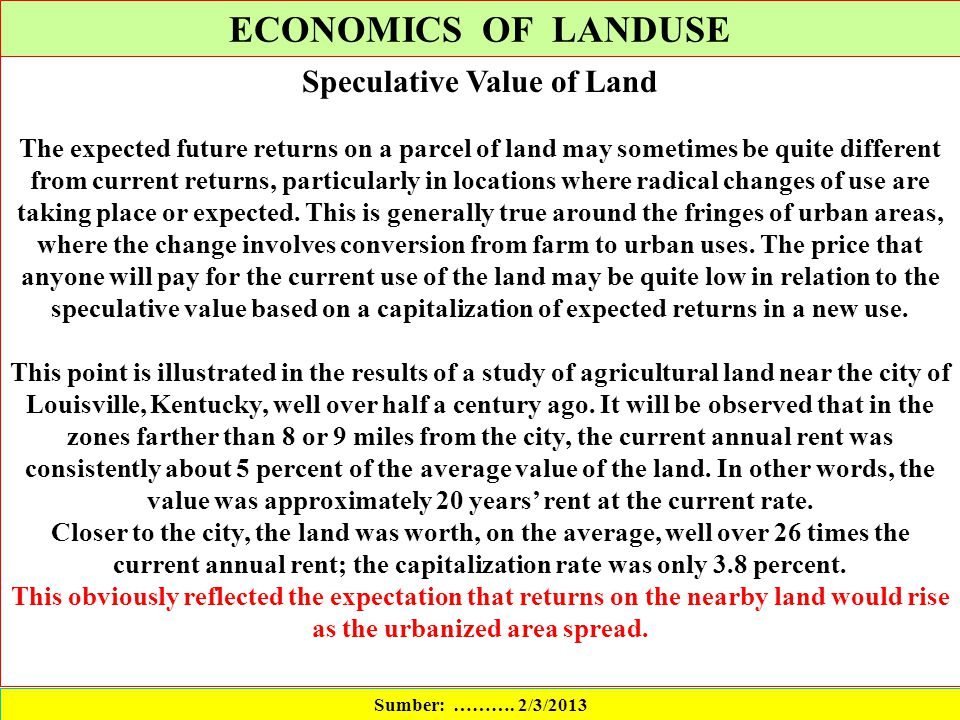 Speculative Value of Land