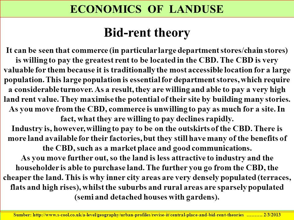 Bid-rent theory ECONOMICS OF LANDUSE