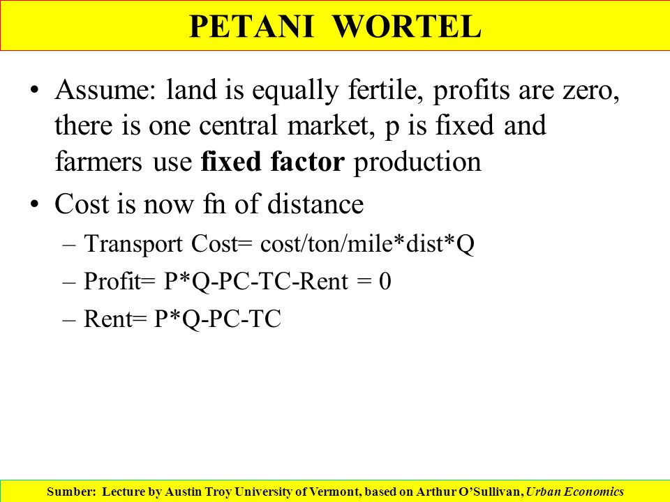 PETANI WORTEL Assume: land is equally fertile, profits are zero, there is one central market, p is fixed and farmers use fixed factor production.