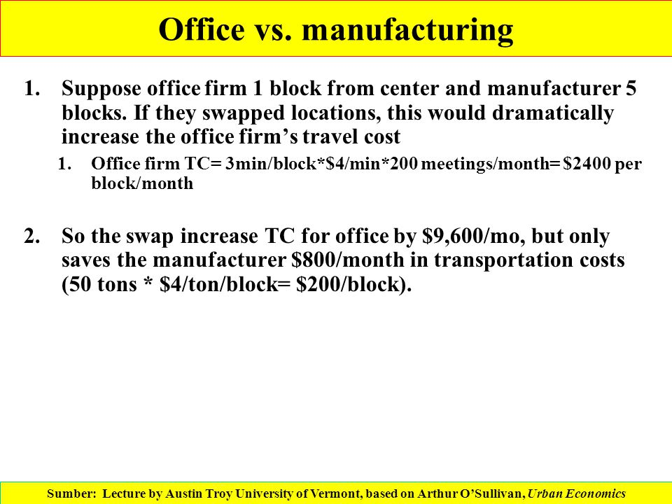 Office vs. manufacturing