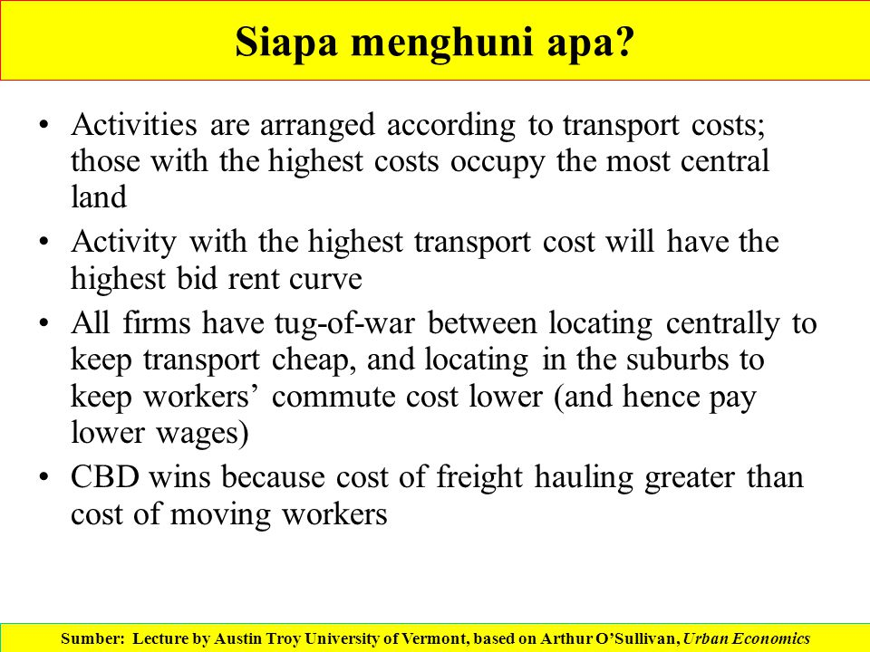 Siapa menghuni apa Activities are arranged according to transport costs; those with the highest costs occupy the most central land.