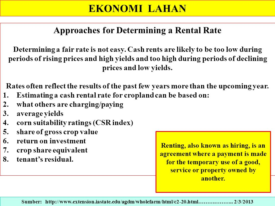 Approaches for Determining a Rental Rate