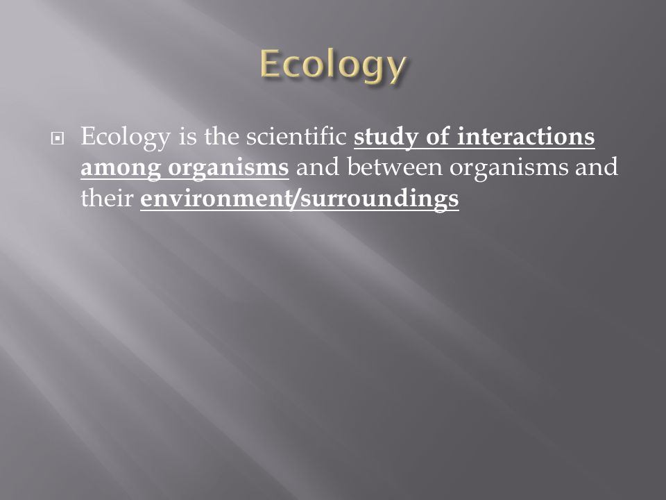 Ecology Ecology is the scientific study of interactions among organisms and between organisms and their environment/surroundings.