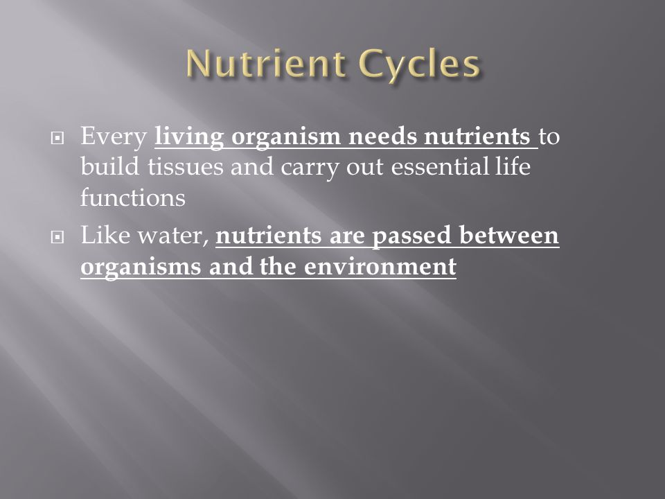 Nutrient Cycles Every living organism needs nutrients to build tissues and carry out essential life functions.