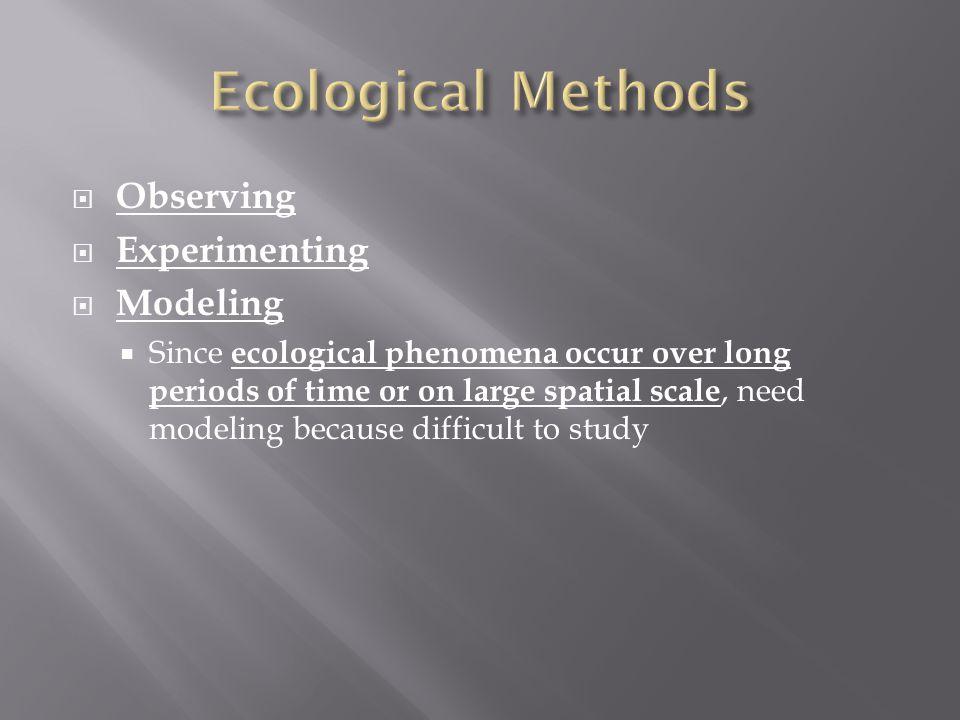 Ecological Methods Observing Experimenting Modeling