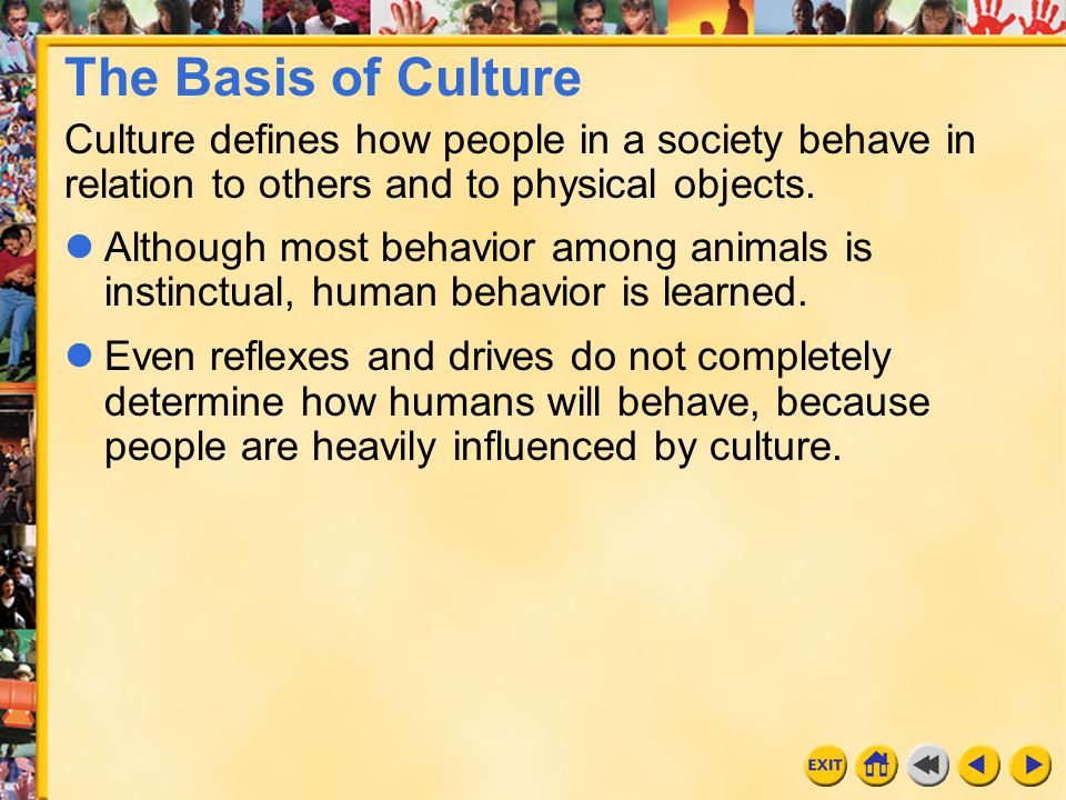 The Basis of Culture Culture defines how people in a society behave in relation to others and to physical objects.