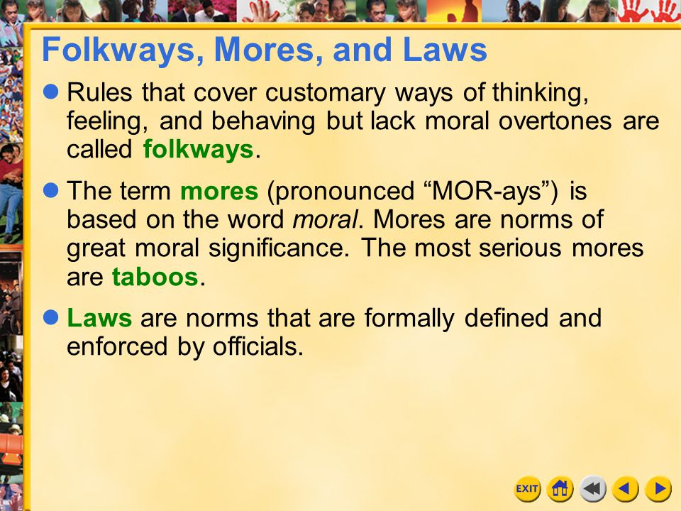 Folkways, Mores, and Laws