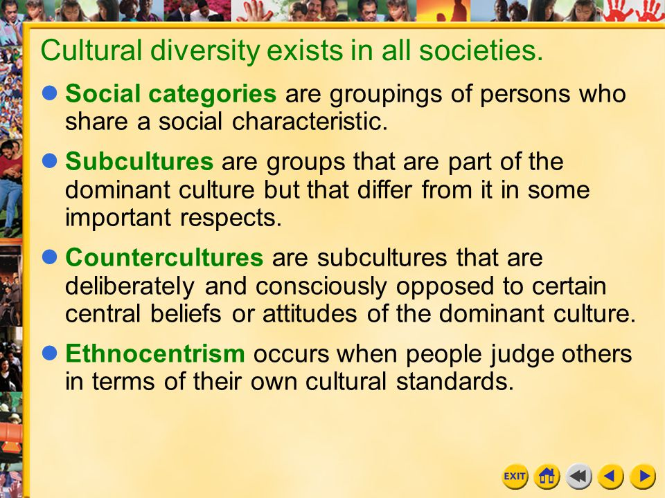 Cultural diversity exists in all societies.