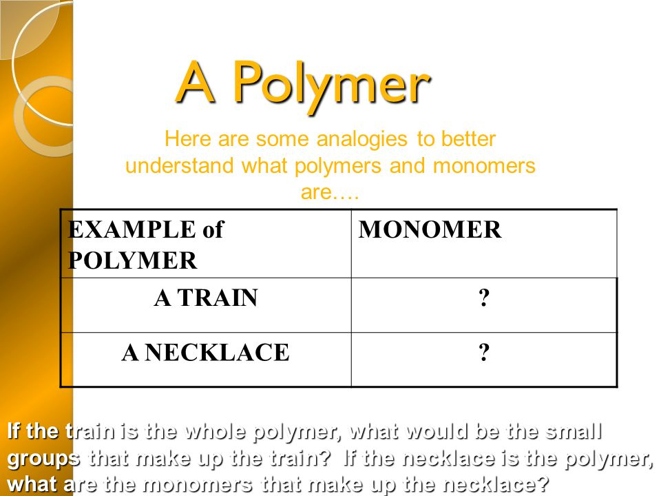 A Polymer EXAMPLE of POLYMER MONOMER A TRAIN A NECKLACE