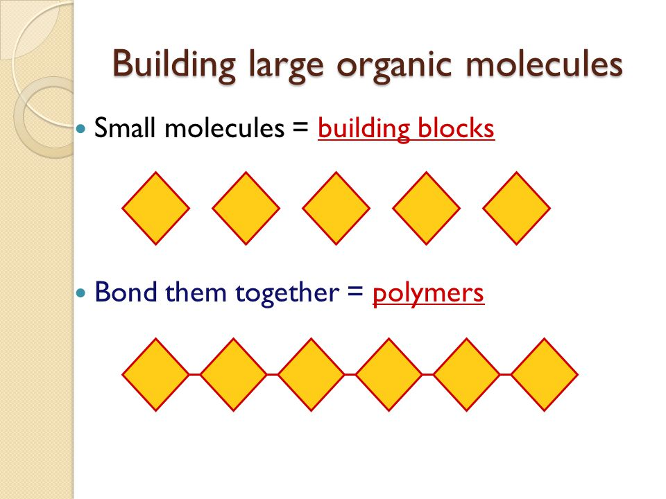 Building large organic molecules
