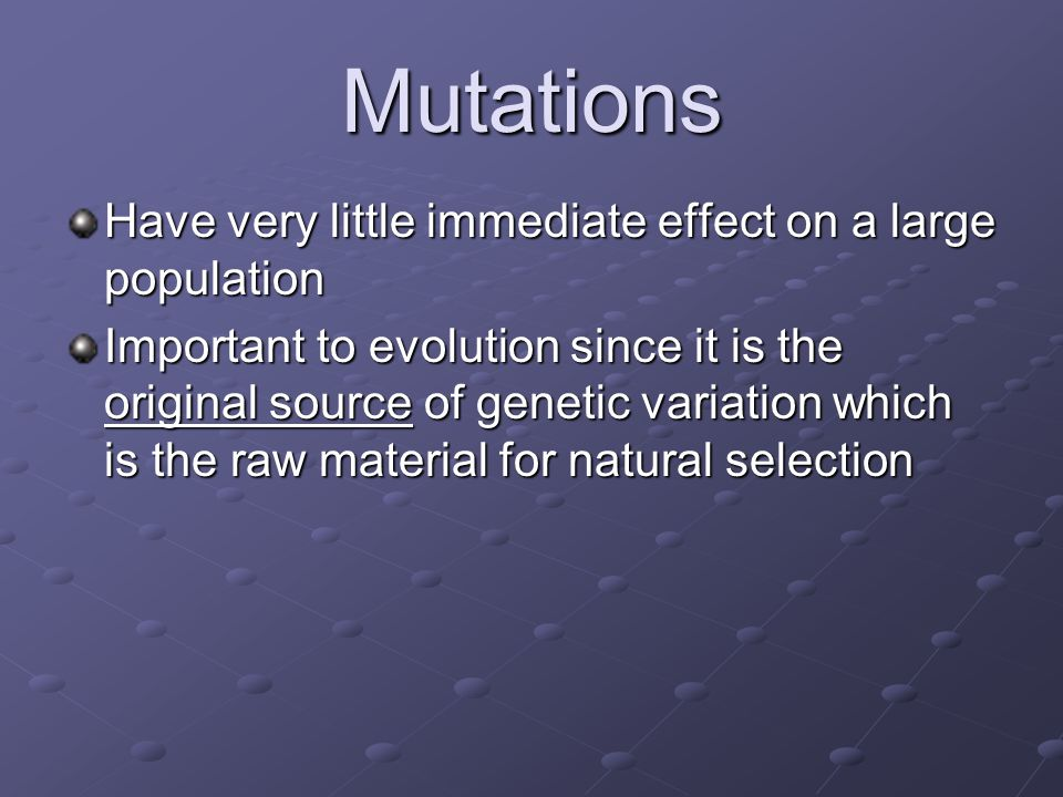 Mutations Have very little immediate effect on a large population