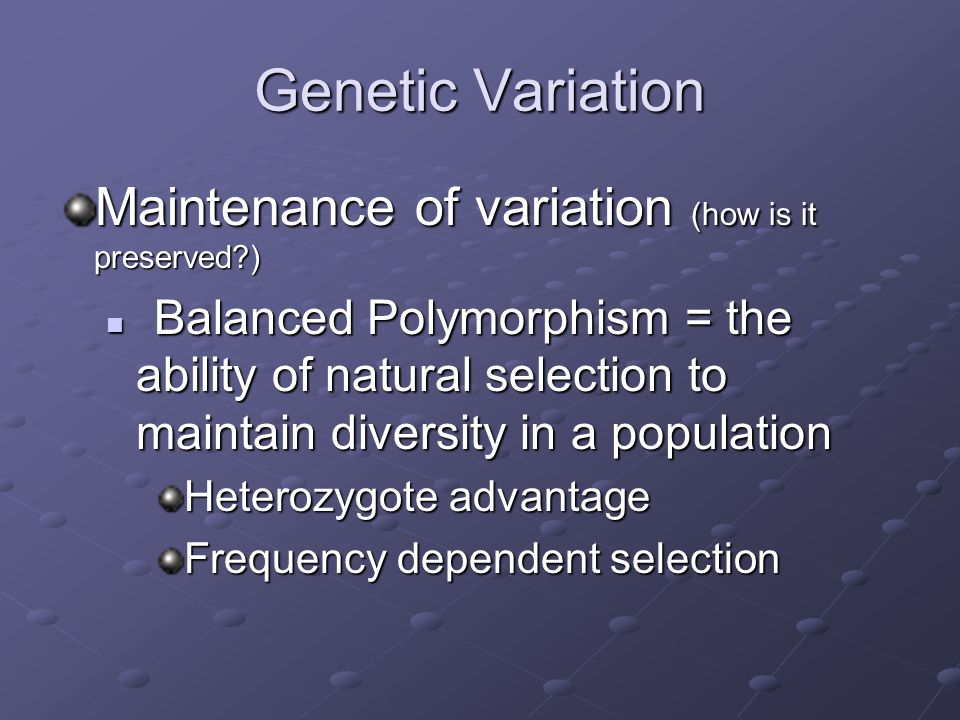 Genetic Variation Maintenance of variation (how is it preserved )