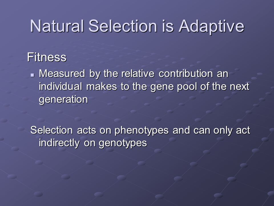 Natural Selection is Adaptive