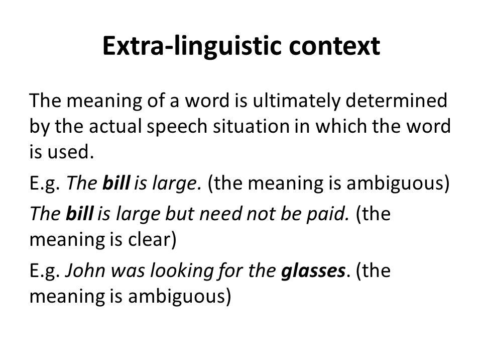 Extra-linguistic context