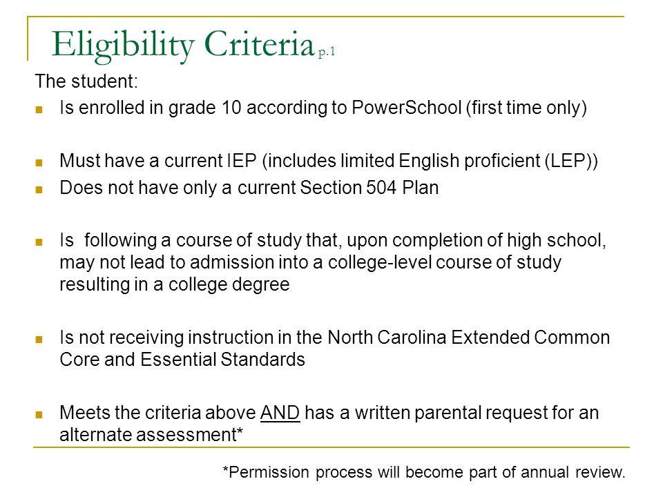 Eligibility Criteria p.1