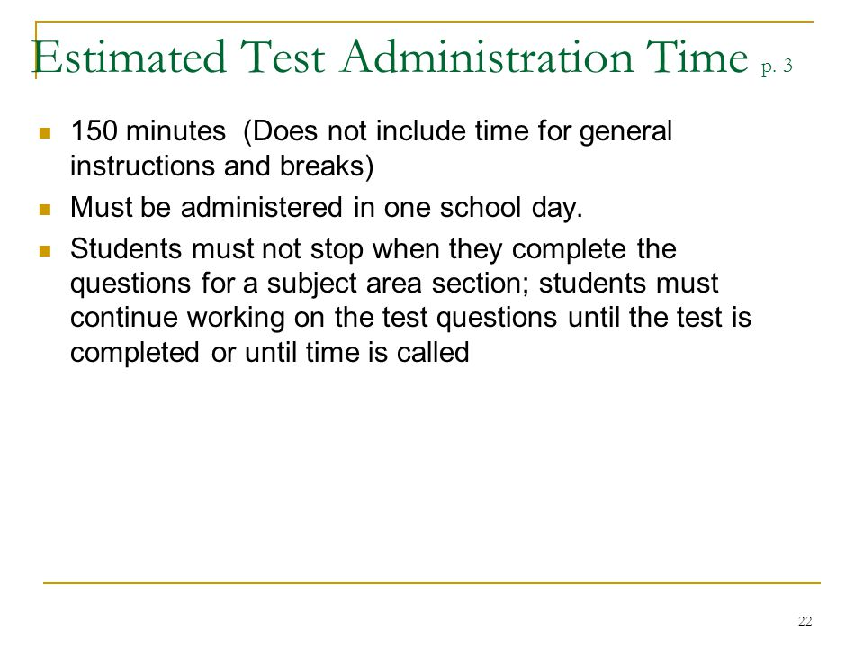 Estimated Test Administration Time p. 3