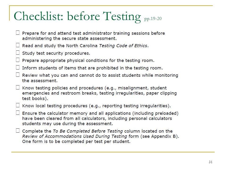 Checklist: before Testing pp.19-20