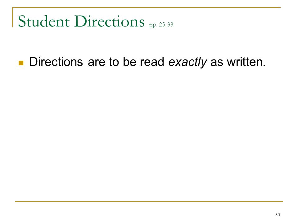 Student Directions pp. 25-33