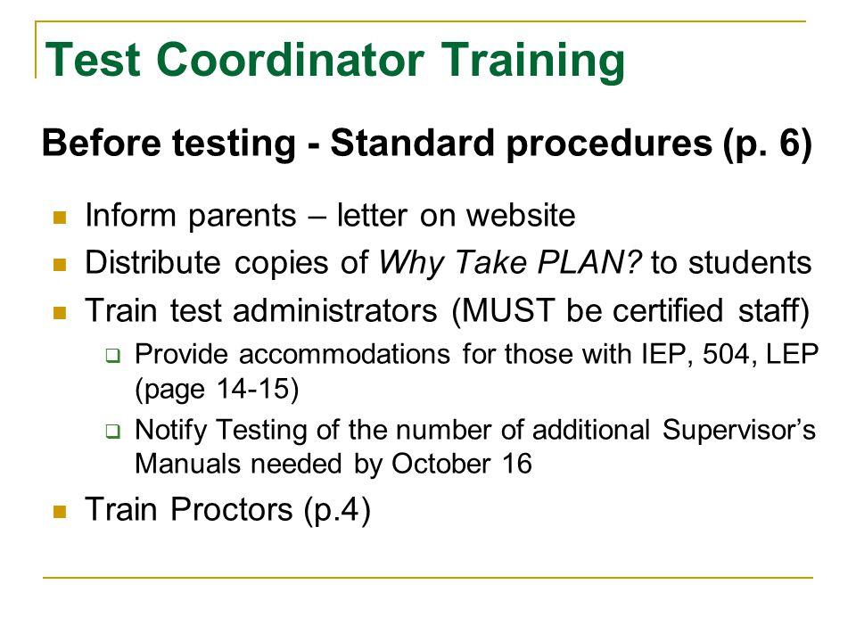 Test Coordinator Training