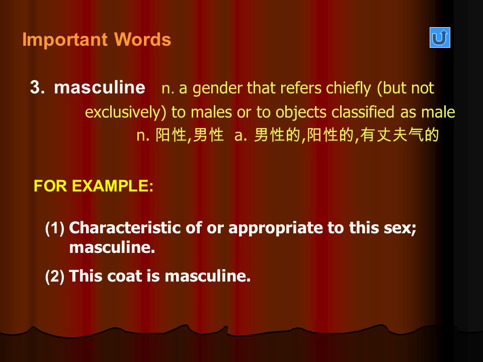 masculine n. a gender that refers chiefly (but not