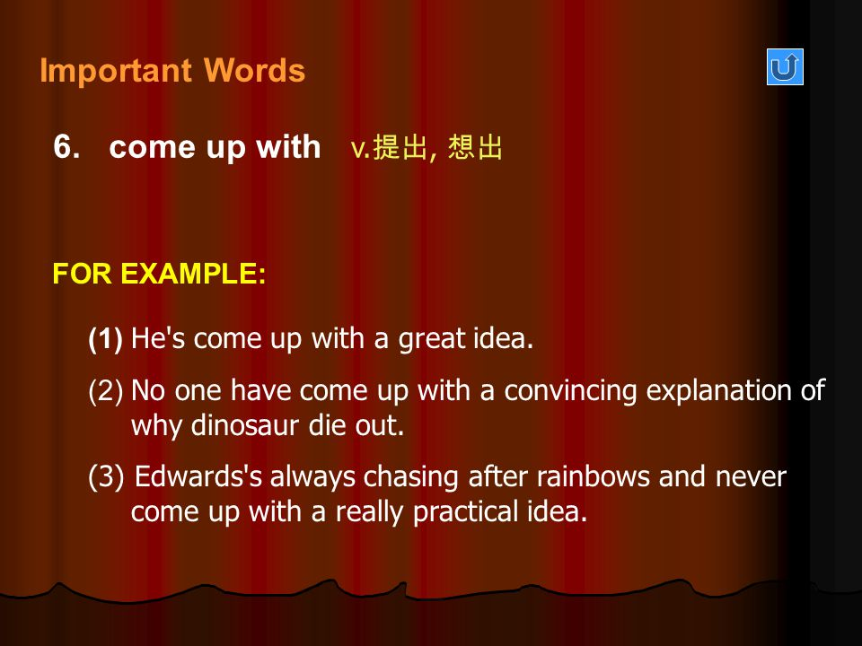Important Words 6. come up with v.提出, 想出 FOR EXAMPLE: