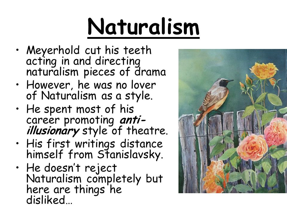 Naturalism Meyerhold cut his teeth acting in and directing naturalism pieces of drama. However, he was no lover of Naturalism as a style.
