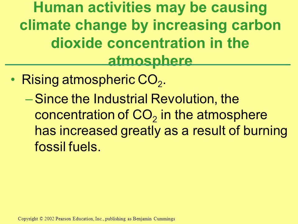 Human activities may be causing climate change by increasing carbon dioxide concentration in the atmosphere