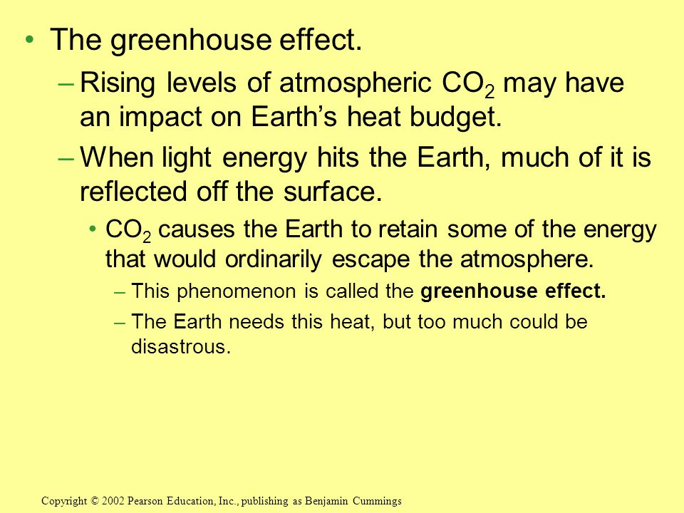 The greenhouse effect. Rising levels of atmospheric CO2 may have an impact on Earth's heat budget.