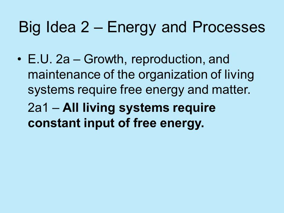 Big Idea 2 – Energy and Processes
