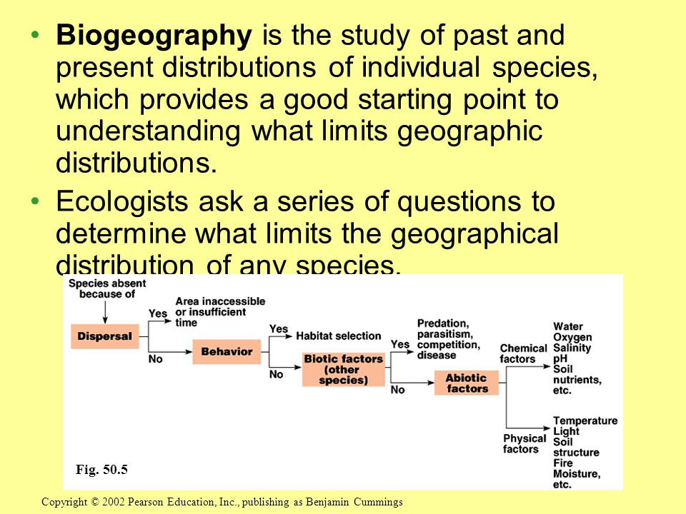Biogeography is the study of past and present distributions of individual species, which provides a good starting point to understanding what limits geographic distributions.