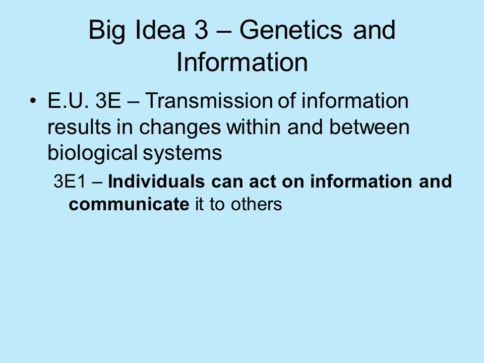 Big Idea 3 – Genetics and Information