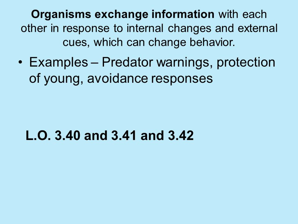 Examples – Predator warnings, protection of young, avoidance responses