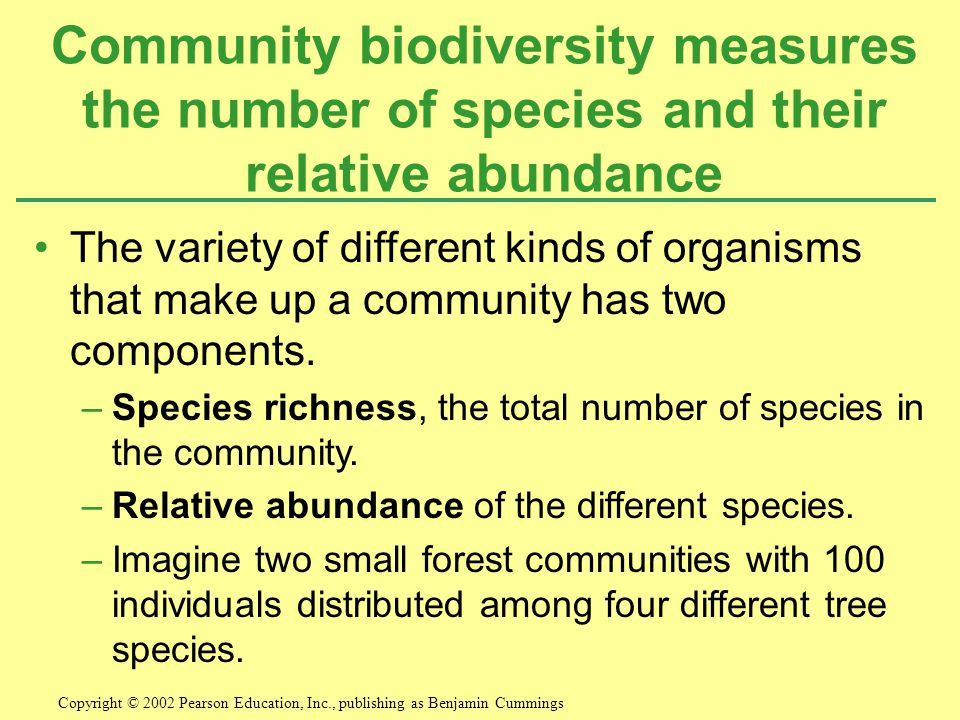 Community biodiversity measures the number of species and their relative abundance