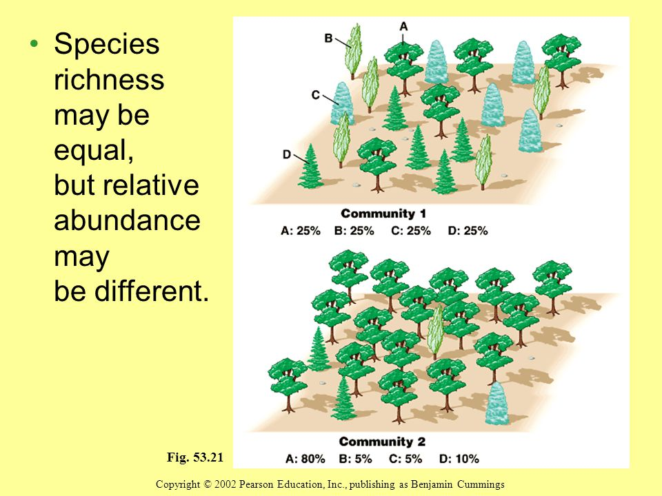 Species richness may be equal, but relative abundance may be different.