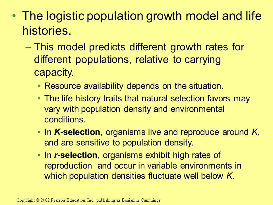 The logistic population growth model and life histories.
