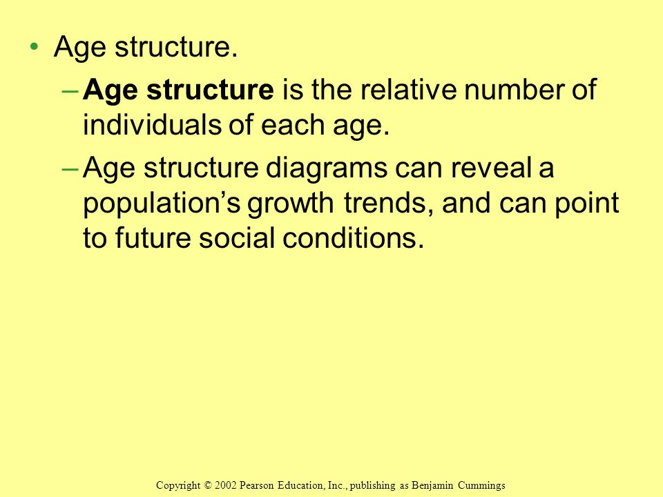 Age structure is the relative number of individuals of each age.