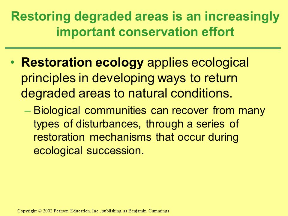 Restoring degraded areas is an increasingly important conservation effort