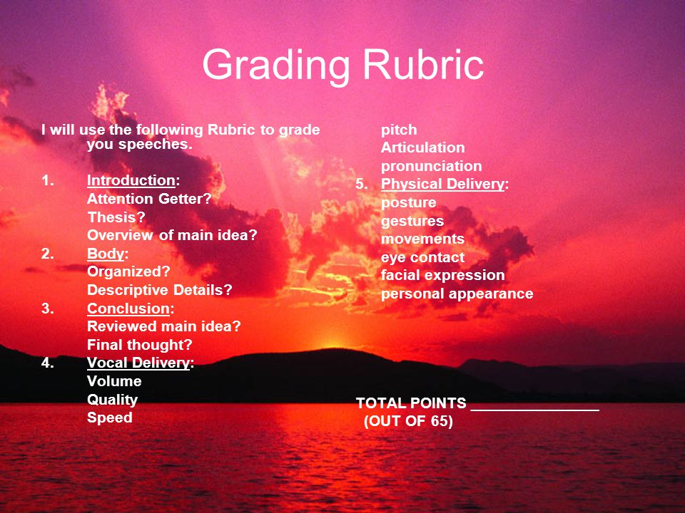 Grading Rubric I will use the following Rubric to grade you speeches.