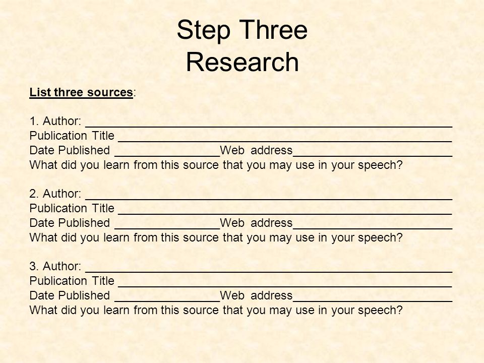 Step Three Research List three sources: