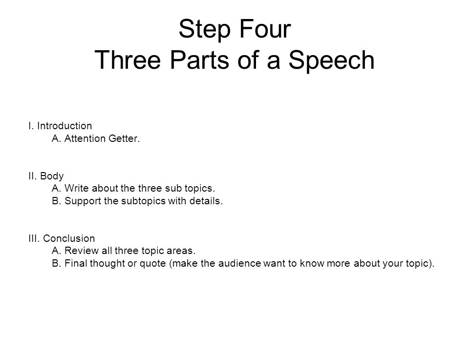 about a country outside the united states ppt video online  step four three parts of a speech
