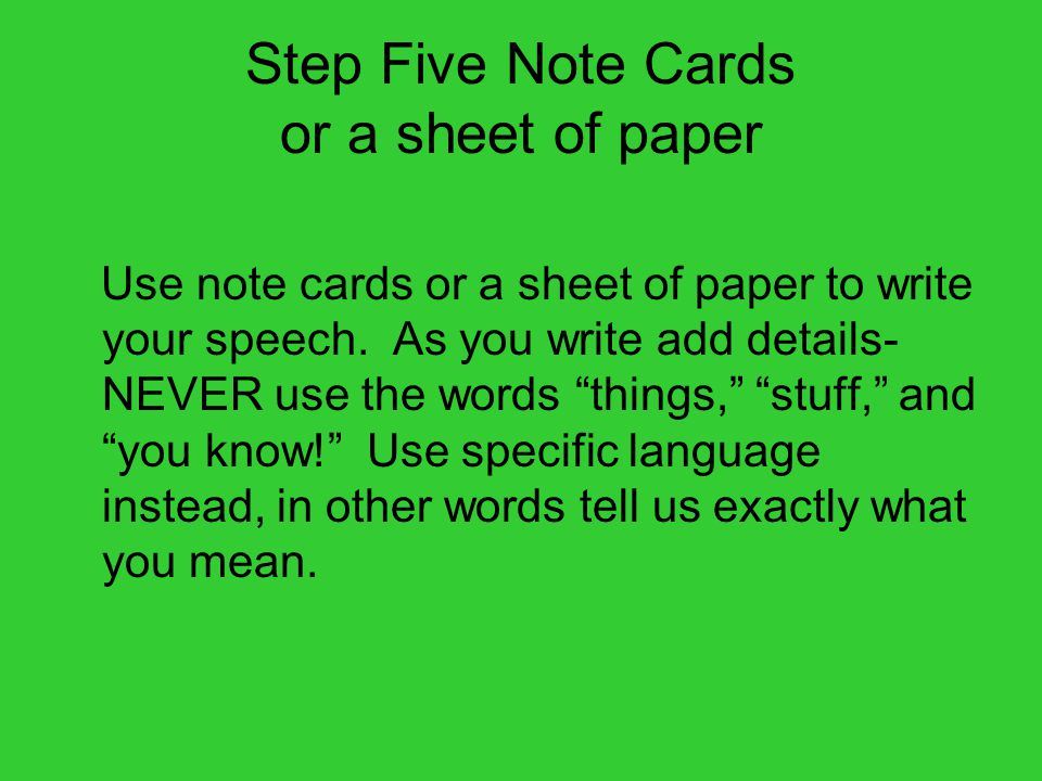 Step Five Note Cards or a sheet of paper