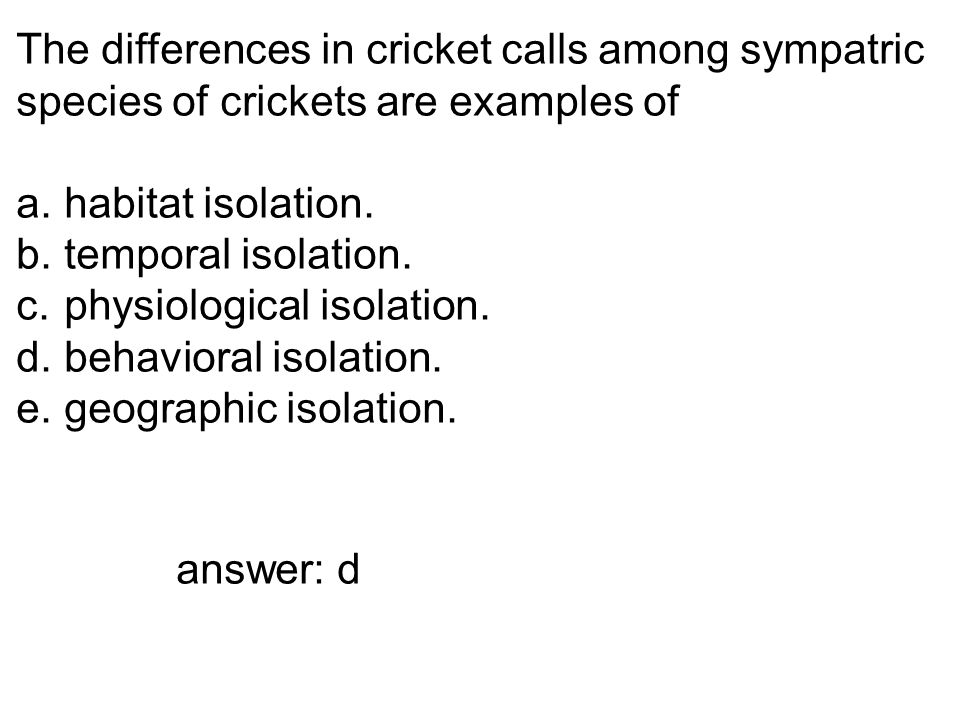 The differences in cricket calls among sympatric