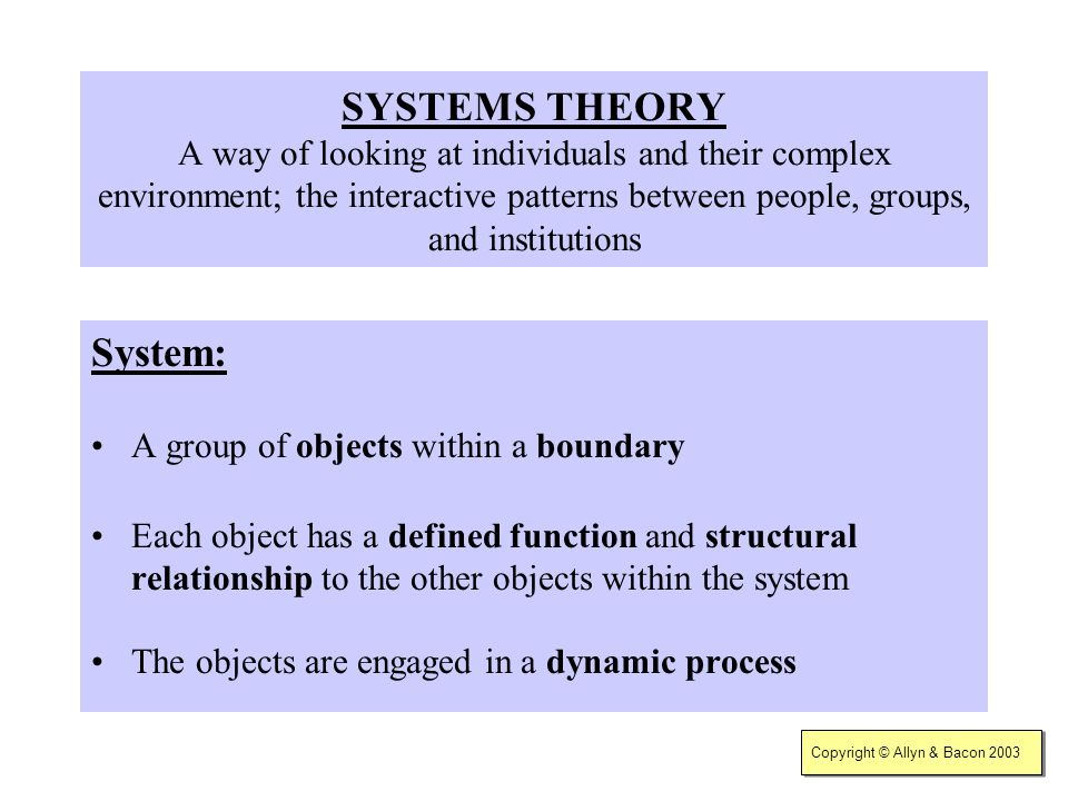 SYSTEMS THEORY A way of looking at individuals and their complex environment; the interactive patterns between people, groups, and institutions